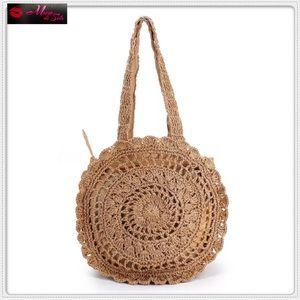 Handbags - New Boho Hand Woven Round Straw Shoulder Bag